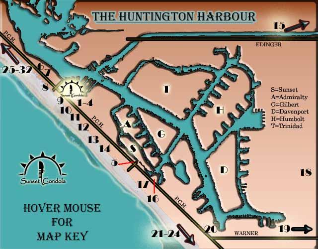 Map Huntington Harbour Beach Sunset Beach Restaurants Hotels